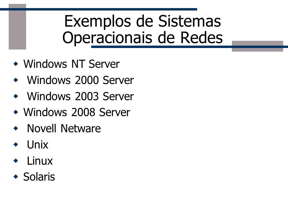 Exemplos de Sistemas Operacionais de Redes Windows NT Server Windows 2000 Server Windows 2003 Server Windows 2008 Server Novell Netware Unix Linux Sol