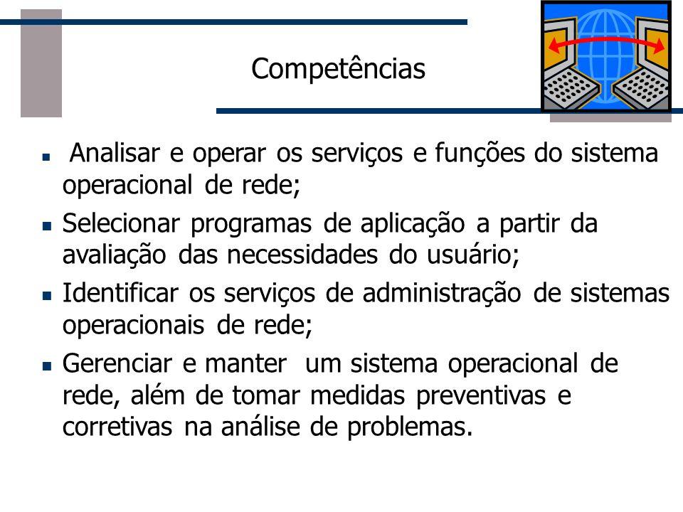 Competências Analisar e operar os serviços e funções do sistema operacional de rede; Selecionar programas de aplicação a partir da avaliação das neces