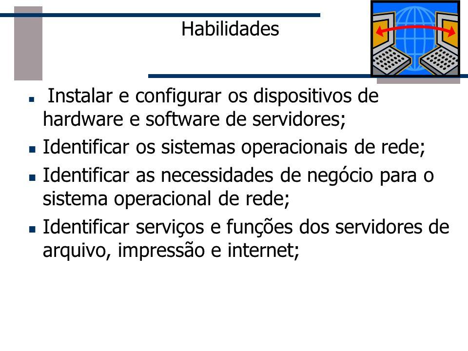 Habilidades Instalar e configurar os dispositivos de hardware e software de servidores; Identificar os sistemas operacionais de rede; Identificar as n