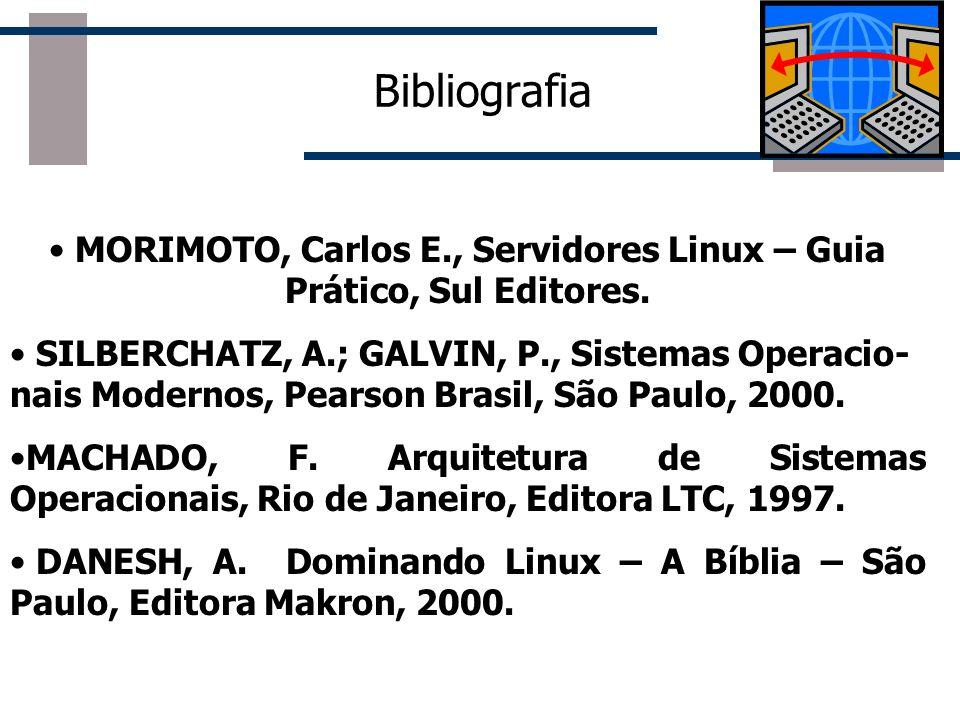 Bibliografia MORIMOTO, Carlos E., Servidores Linux – Guia Prático, Sul Editores. SILBERCHATZ, A.; GALVIN, P., Sistemas Operacio- nais Modernos, Pearso