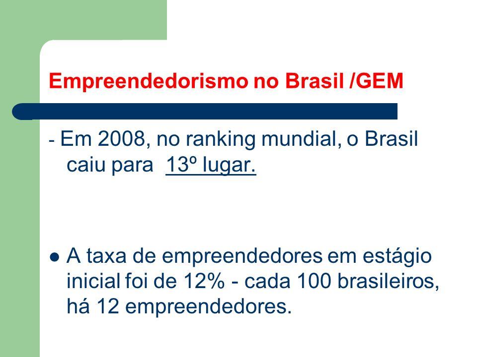 Empreendedorismo no Brasil /GEM - Em 2007, no ranking mundial, o Brasil se aproximou mais dos principais países empreendedores do mundo, passando de 1