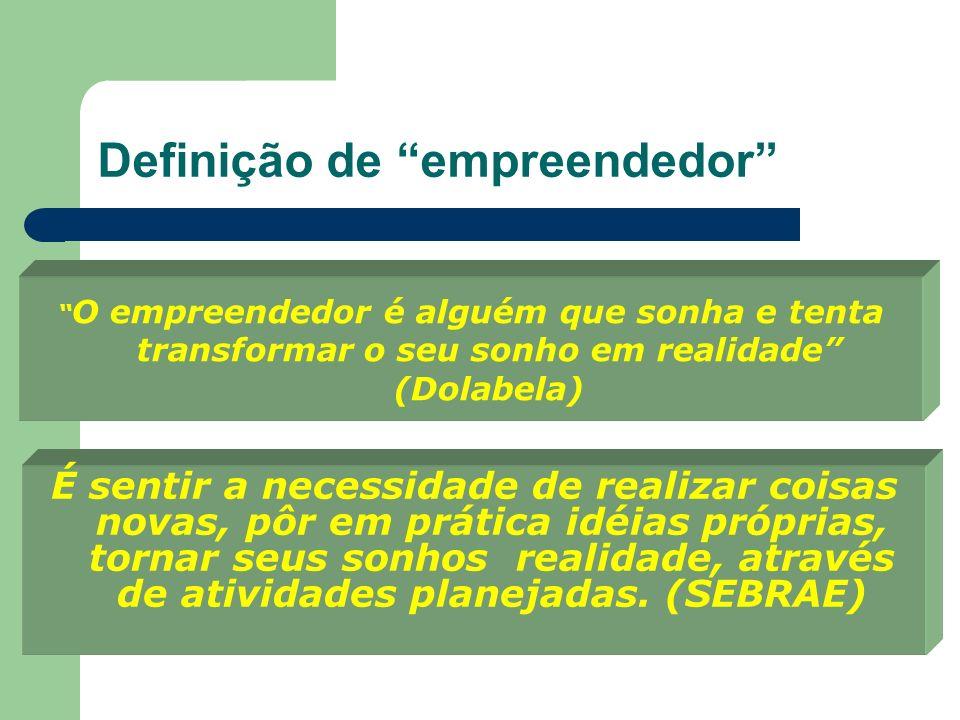 Definição de empreendedor O empreendedor é alguém capaz de identificar, agarrar e aproveitar oportunidades, buscando e gerenciando recursos para trans