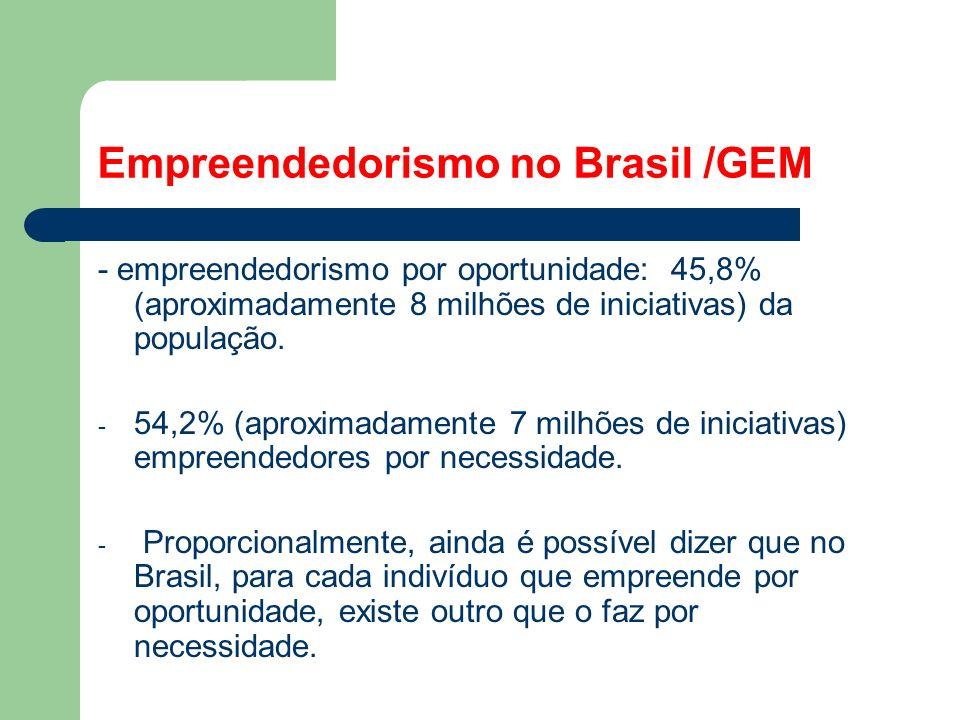 Empreendedorismo no Brasil /GEM - empreendedorismo por oportunidade: 45,8% (aproximadamente 8 milhões de iniciativas) da população.