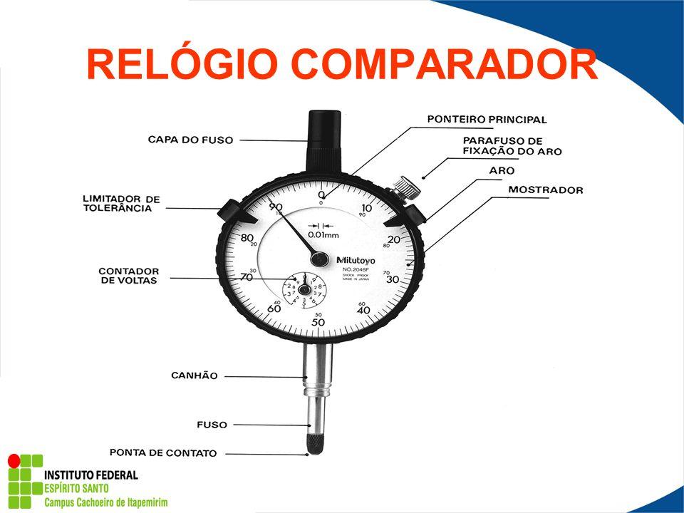 Observação: Antes de tocar na peça, o ponteiro do relógio comparador fica em uma posição anterior a zero.