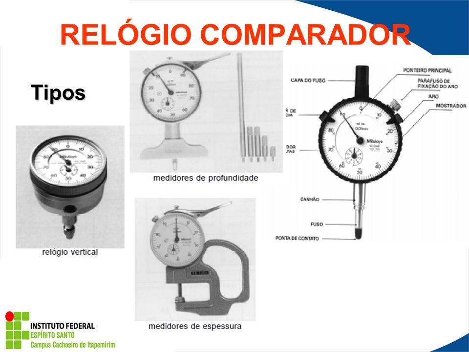 Relógio Comparador (Súbito) Os relógios comparadores também podem ser utilizados para furos.