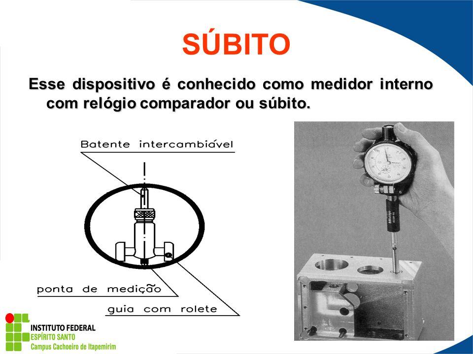 SÚBITO Esse dispositivo é conhecido como medidor interno com relógio comparador ou súbito.