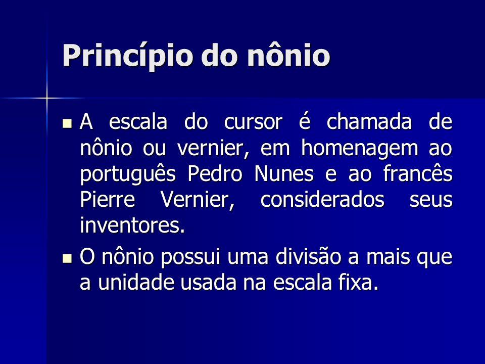 Princípio do nônio A escala do cursor é chamada de nônio ou vernier, em homenagem ao português Pedro Nunes e ao francês Pierre Vernier, considerados s