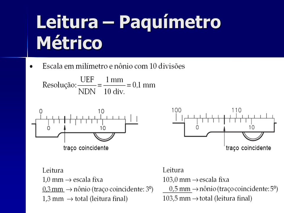 Leitura – Paquímetro Métrico