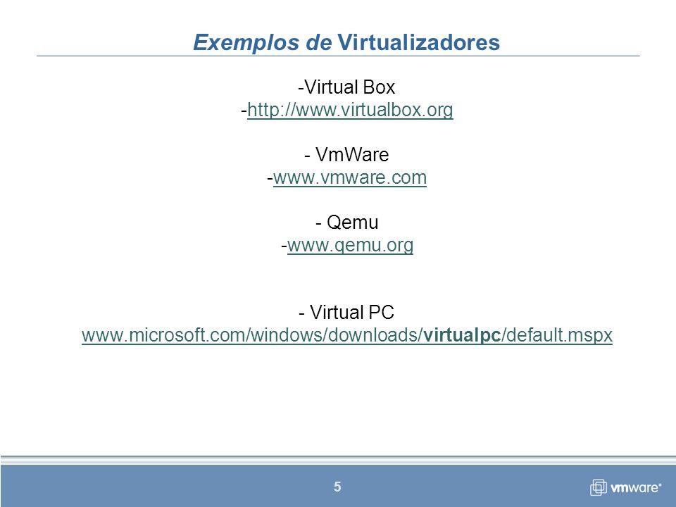 5 Exemplos de Virtualizadores -Virtual Box -http://www.virtualbox.orghttp://www.virtualbox.org - VmWare -www.vmware.comwww.vmware.com - Qemu -www.qemu.orgwww.qemu.org - Virtual PC www.microsoft.com/windows/downloads/virtualpc/default.mspx