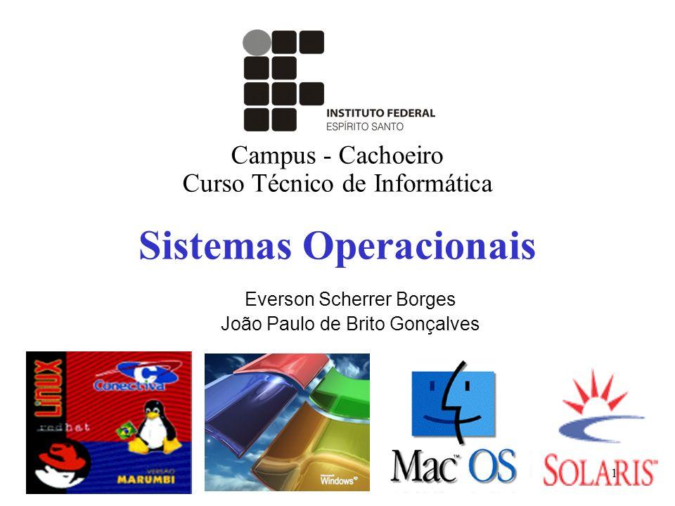 1 Sistemas Operacionais Campus - Cachoeiro Curso Técnico de Informática Everson Scherrer Borges João Paulo de Brito Gonçalves