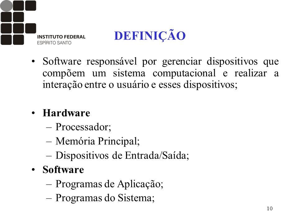 10 DEFINIÇÃO Software responsável por gerenciar dispositivos que compõem um sistema computacional e realizar a interação entre o usuário e esses dispo