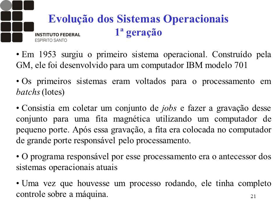 21 Evolução dos Sistemas Operacionais 1ª geração Em 1953 surgiu o primeiro sistema operacional. Construído pela GM, ele foi desenvolvido para um compu
