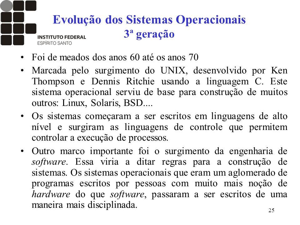 25 Evolução dos Sistemas Operacionais 3ª geração Foi de meados dos anos 60 até os anos 70 Marcada pelo surgimento do UNIX, desenvolvido por Ken Thomps