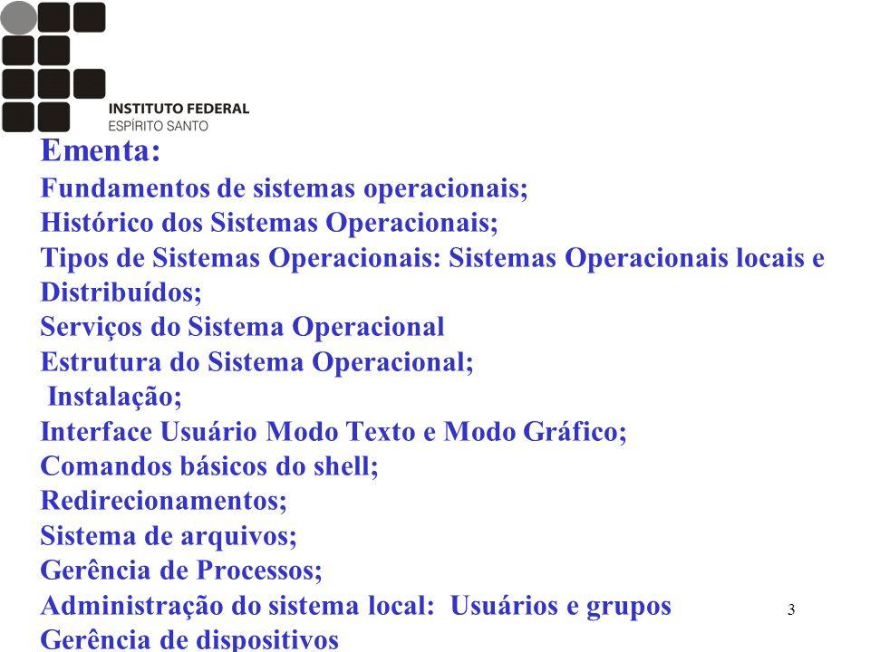 3 Ementa: Fundamentos de sistemas operacionais; Histórico dos Sistemas Operacionais; Tipos de Sistemas Operacionais: Sistemas Operacionais locais e Di