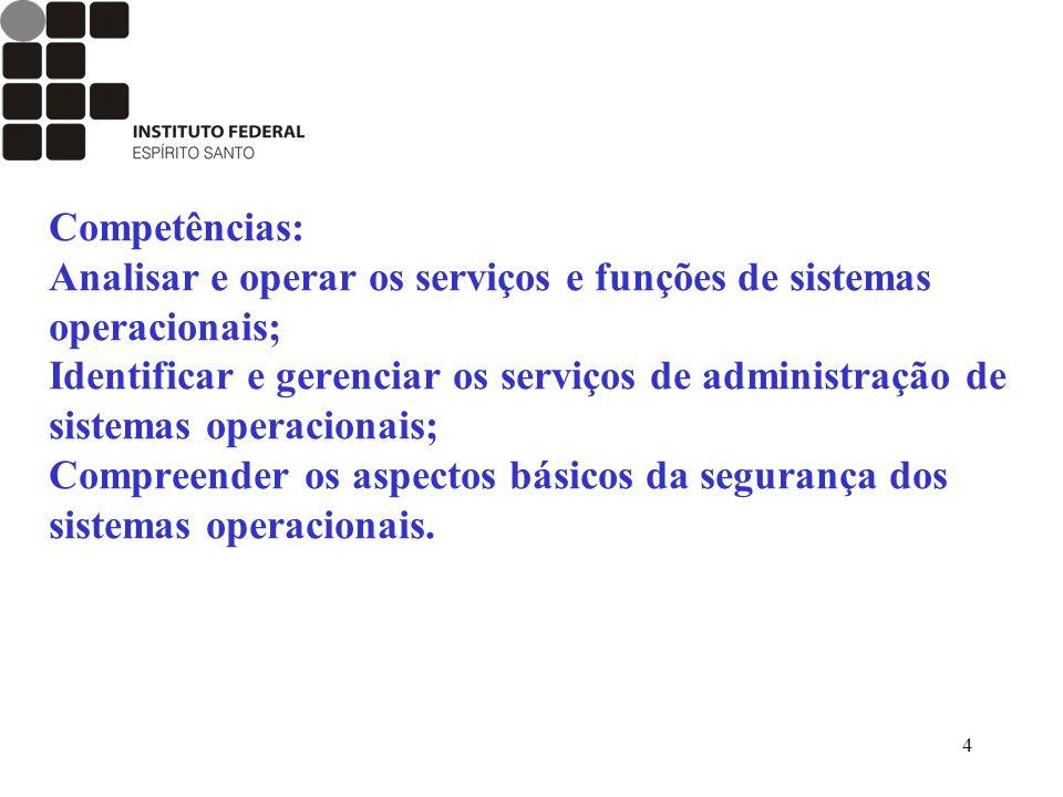4 Competências: Analisar e operar os serviços e funções de sistemas operacionais; Identificar e gerenciar os serviços de administração de sistemas ope