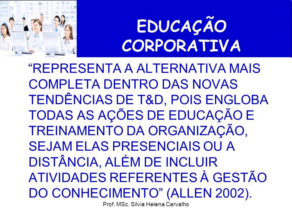 Prof. MSc. Silvia Helena Carvalho EDUCAÇÃO CORPORATIVA REPRESENTA A ALTERNATIVA MAIS COMPLETA DENTRO DAS NOVAS TENDÊNCIAS DE T&D, POIS ENGLOBA TODAS A
