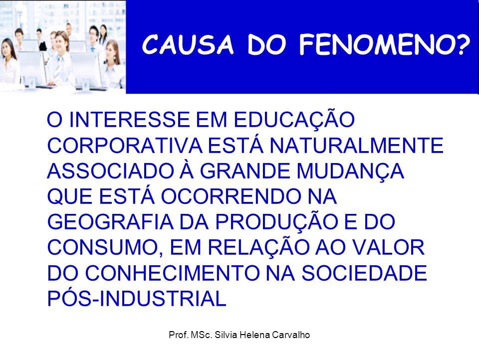 Prof. MSc. Silvia Helena Carvalho CAUSA DO FENOMENO? O INTERESSE EM EDUCAÇÃO CORPORATIVA ESTÁ NATURALMENTE ASSOCIADO À GRANDE MUDANÇA QUE ESTÁ OCORREN