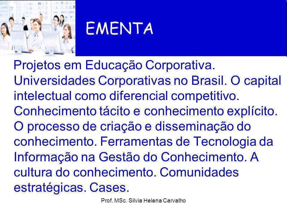 Projetos em Educação Corporativa. Universidades Corporativas no Brasil. O capital intelectual como diferencial competitivo. Conhecimento tácito e conh