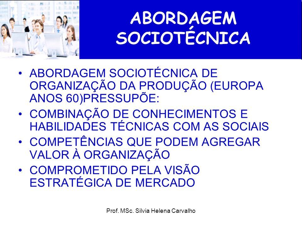 Prof. MSc. Silvia Helena Carvalho ABORDAGEM SOCIOTÉCNICA ABORDAGEM SOCIOTÉCNICA DE ORGANIZAÇÃO DA PRODUÇÃO (EUROPA ANOS 60)PRESSUPÕE: COMBINAÇÃO DE CO