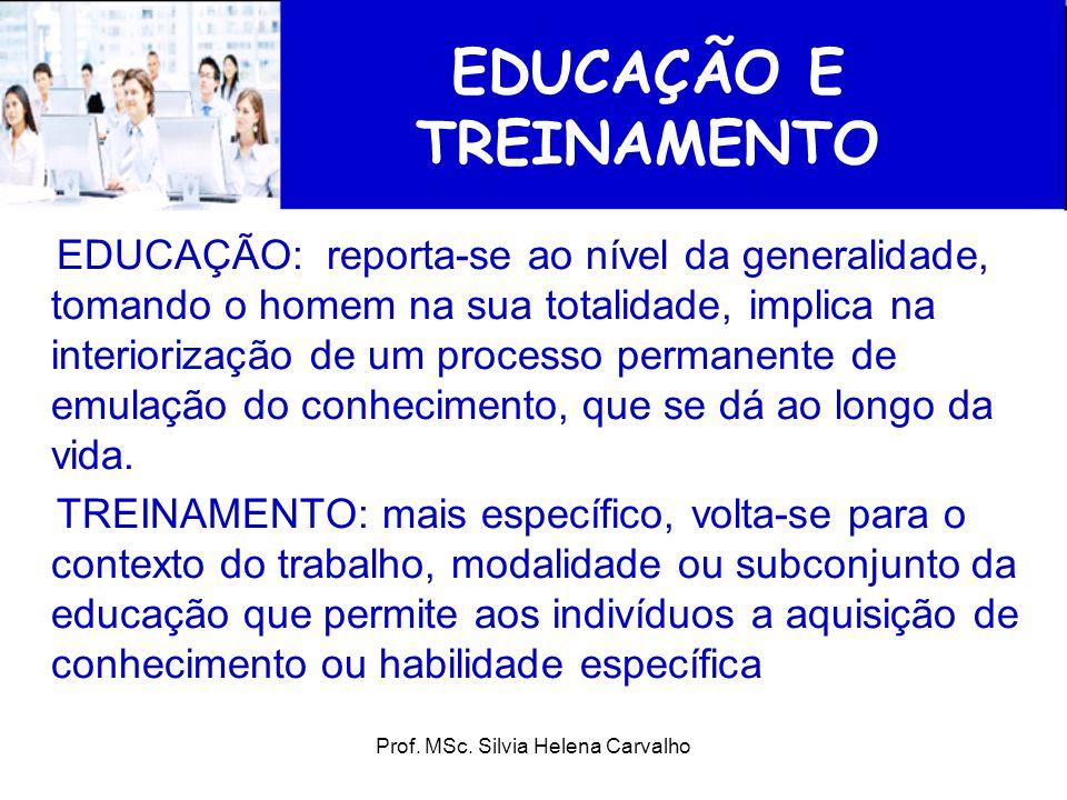 EDUCAÇÃO E TREINAMENTO EDUCAÇÃO: reporta-se ao nível da generalidade, tomando o homem na sua totalidade, implica na interiorização de um processo perm