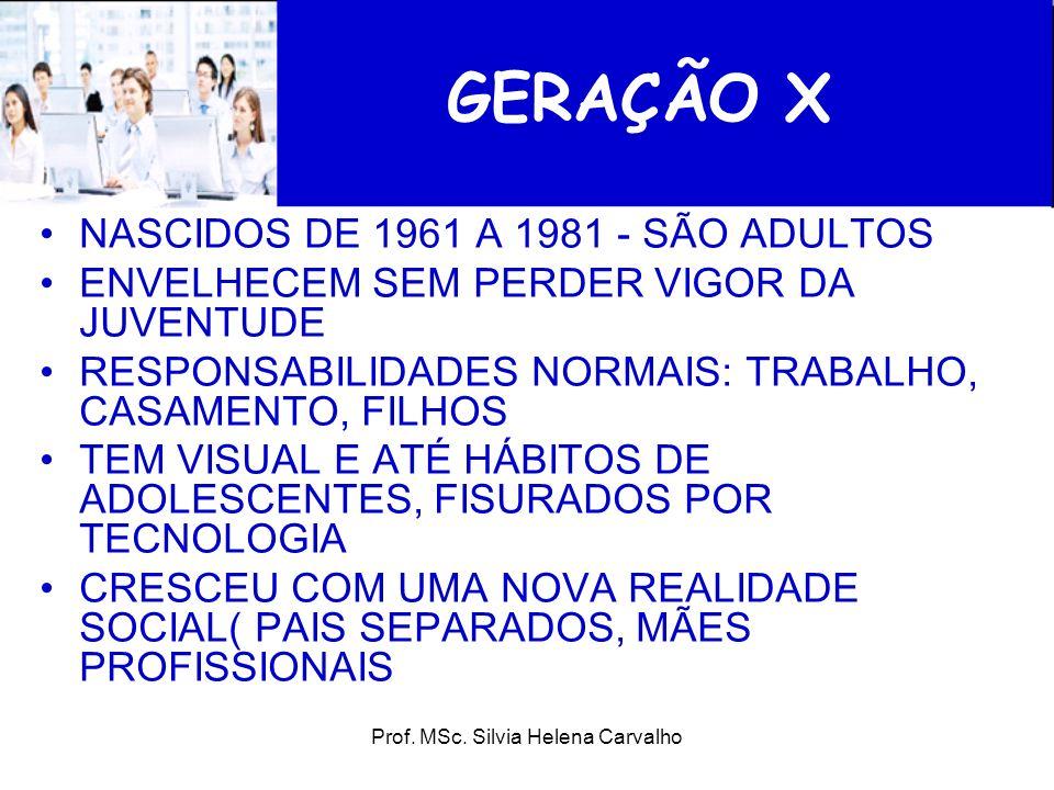 Prof. MSc. Silvia Helena Carvalho GERAÇÃO X NASCIDOS DE 1961 A 1981 - SÃO ADULTOS ENVELHECEM SEM PERDER VIGOR DA JUVENTUDE RESPONSABILIDADES NORMAIS:
