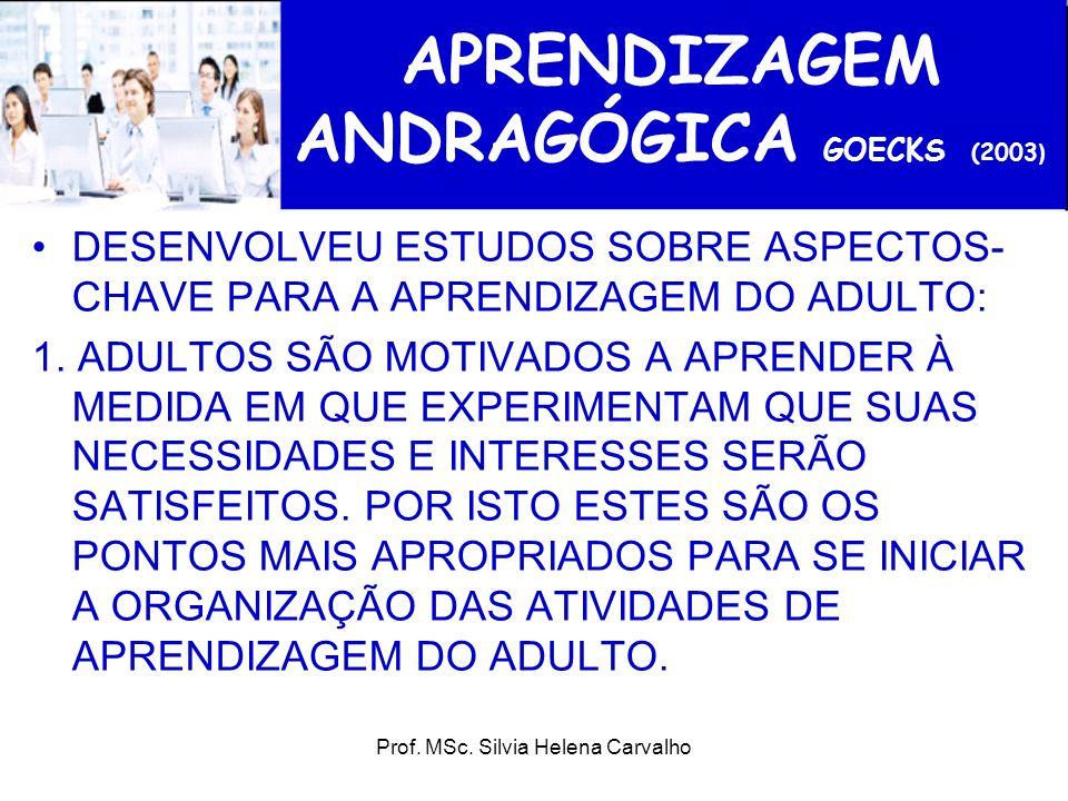 Prof. MSc. Silvia Helena Carvalho APRENDIZAGEM ANDRAGÓGICA GOECKS (2003 ) DESENVOLVEU ESTUDOS SOBRE ASPECTOS- CHAVE PARA A APRENDIZAGEM DO ADULTO: 1.