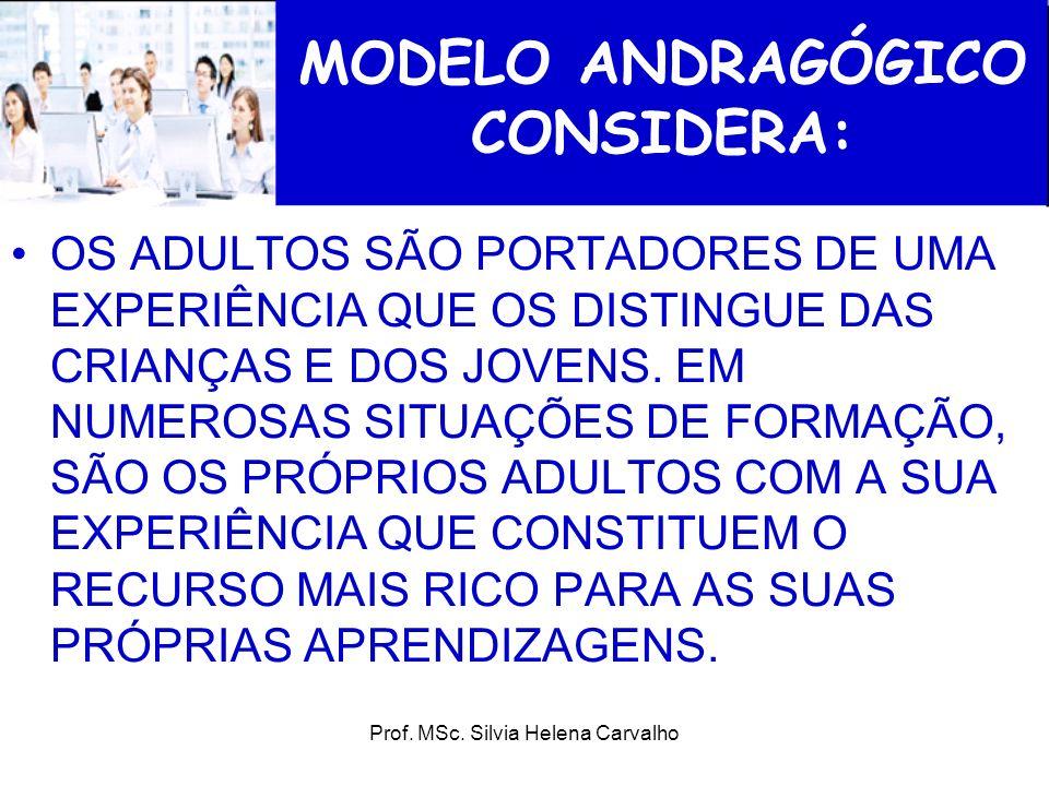 Prof. MSc. Silvia Helena Carvalho MODELO ANDRAGÓGICO CONSIDERA: OS ADULTOS SÃO PORTADORES DE UMA EXPERIÊNCIA QUE OS DISTINGUE DAS CRIANÇAS E DOS JOVEN