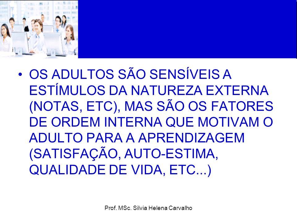 Prof. MSc. Silvia Helena Carvalho OS ADULTOS SÃO SENSÍVEIS A ESTÍMULOS DA NATUREZA EXTERNA (NOTAS, ETC), MAS SÃO OS FATORES DE ORDEM INTERNA QUE MOTIV