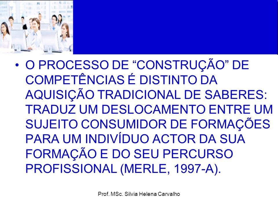 Prof. MSc. Silvia Helena Carvalho O PROCESSO DE CONSTRUÇÃO DE COMPETÊNCIAS É DISTINTO DA AQUISIÇÃO TRADICIONAL DE SABERES: TRADUZ UM DESLOCAMENTO ENTR