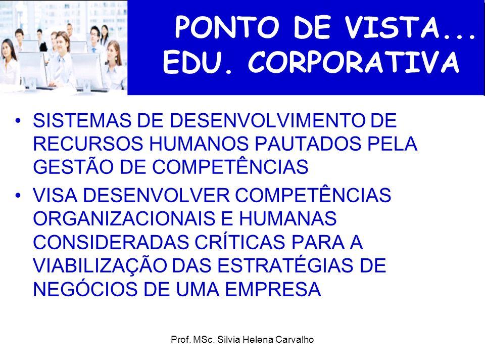 Prof. MSc. Silvia Helena Carvalho PONTO DE VISTA... EDU. CORPORATIVA SISTEMAS DE DESENVOLVIMENTO DE RECURSOS HUMANOS PAUTADOS PELA GESTÃO DE COMPETÊNC