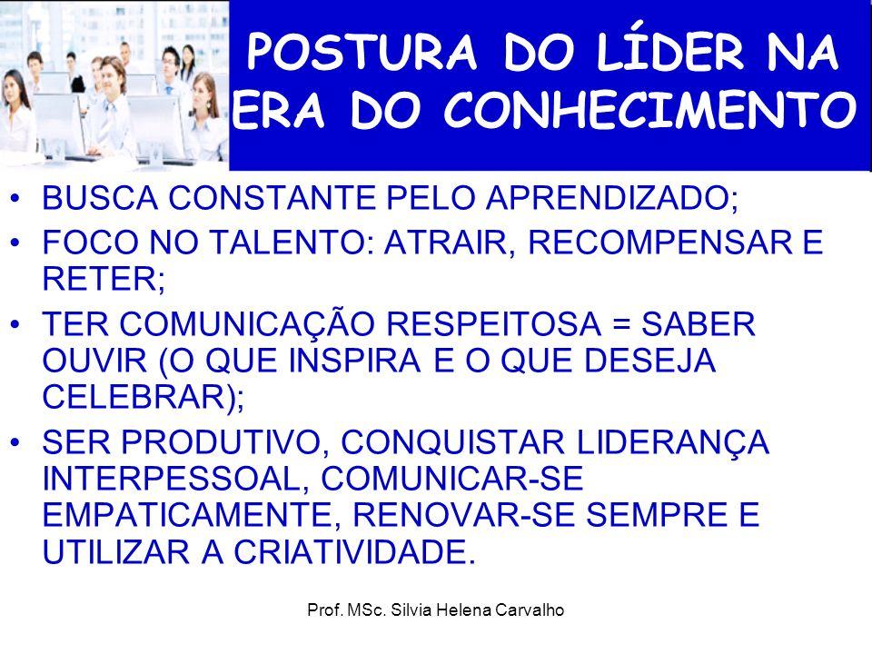 Prof. MSc. Silvia Helena Carvalho POSTURA DO LÍDER NA ERA DO CONHECIMENTO BUSCA CONSTANTE PELO APRENDIZADO; FOCO NO TALENTO: ATRAIR, RECOMPENSAR E RET