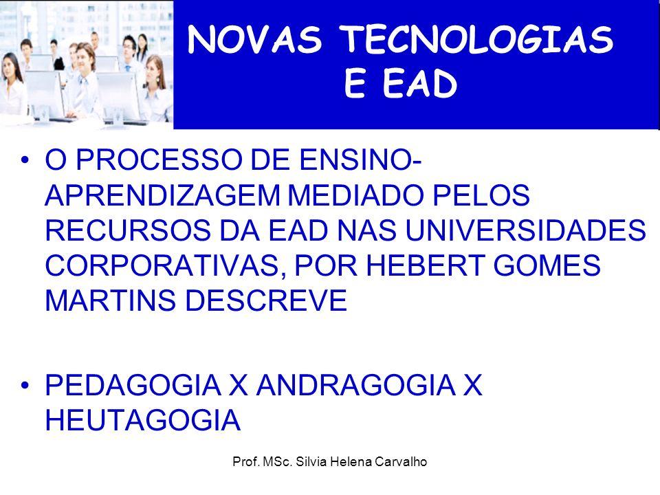 Prof. MSc. Silvia Helena Carvalho NOVAS TECNOLOGIAS E EAD O PROCESSO DE ENSINO- APRENDIZAGEM MEDIADO PELOS RECURSOS DA EAD NAS UNIVERSIDADES CORPORATI
