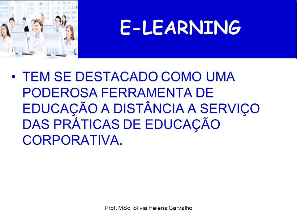 Prof. MSc. Silvia Helena Carvalho E-LEARNING TEM SE DESTACADO COMO UMA PODEROSA FERRAMENTA DE EDUCAÇÃO A DISTÂNCIA A SERVIÇO DAS PRÁTICAS DE EDUCAÇÃO