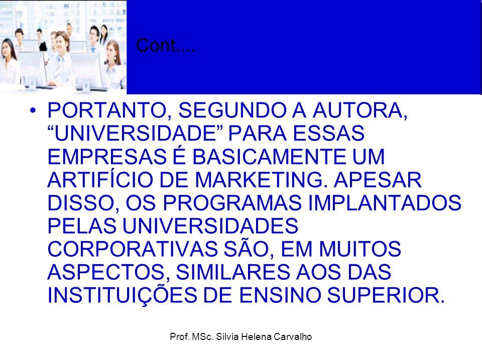Prof. MSc. Silvia Helena Carvalho Cont.... PORTANTO, SEGUNDO A AUTORA, UNIVERSIDADE PARA ESSAS EMPRESAS É BASICAMENTE UM ARTIFÍCIO DE MARKETING. APESA
