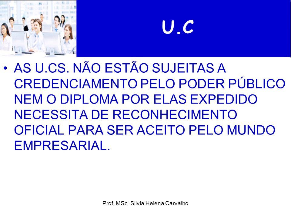 Prof. MSc. Silvia Helena Carvalho U.C AS U.CS. NÃO ESTÃO SUJEITAS A CREDENCIAMENTO PELO PODER PÚBLICO NEM O DIPLOMA POR ELAS EXPEDIDO NECESSITA DE REC