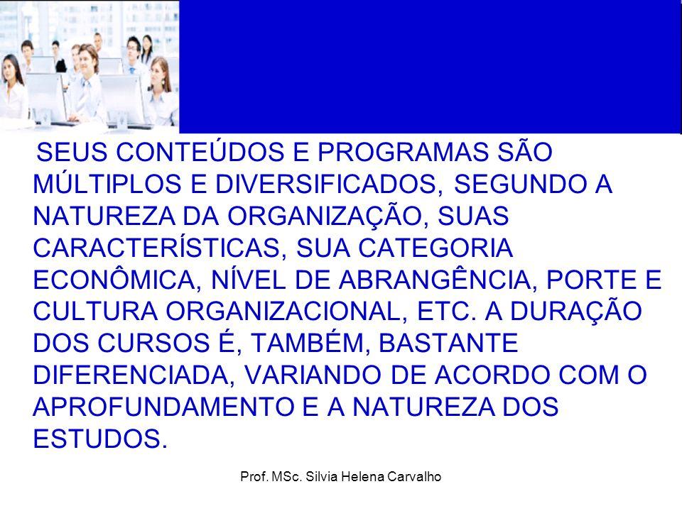 Prof. MSc. Silvia Helena Carvalho SEUS CONTEÚDOS E PROGRAMAS SÃO MÚLTIPLOS E DIVERSIFICADOS, SEGUNDO A NATUREZA DA ORGANIZAÇÃO, SUAS CARACTERÍSTICAS,