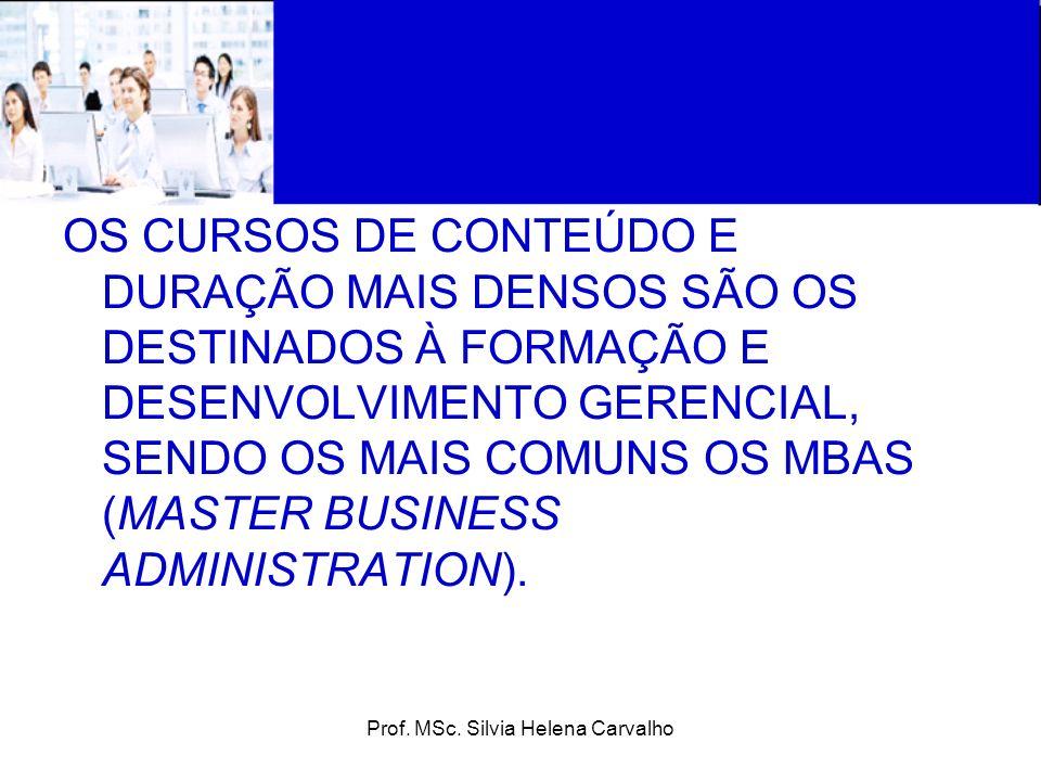 Prof. MSc. Silvia Helena Carvalho OS CURSOS DE CONTEÚDO E DURAÇÃO MAIS DENSOS SÃO OS DESTINADOS À FORMAÇÃO E DESENVOLVIMENTO GERENCIAL, SENDO OS MAIS