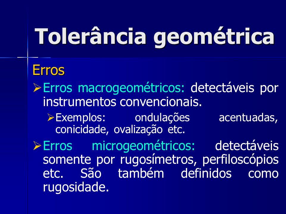 Erros Erros macrogeométricos: detectáveis por instrumentos convencionais.