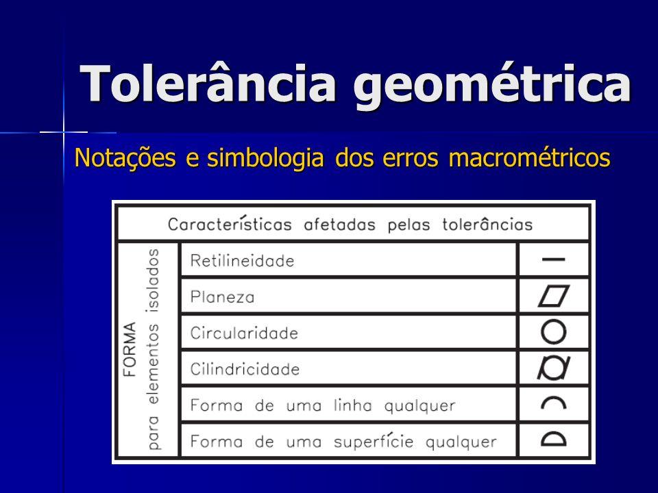 Notações e simbologia dos erros macrométricos Tolerância geométrica