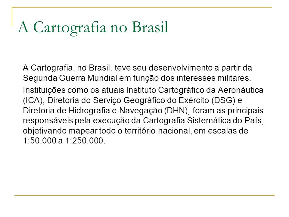Evolução da Cartografia no Brasil 1890 – 31 de maio – Foi criado o Serviço Geográfico Militar, anexo ao Observatório Astronômico, para a execução dos trabalhos geodésicos e geográficos da República dos Estados Unidos do Brasil .