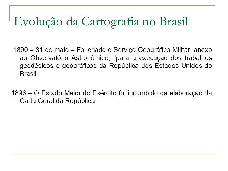 Evolução da Cartografia no Brasil 1922 – Foi organizado o Serviço Geográfico do Exército.