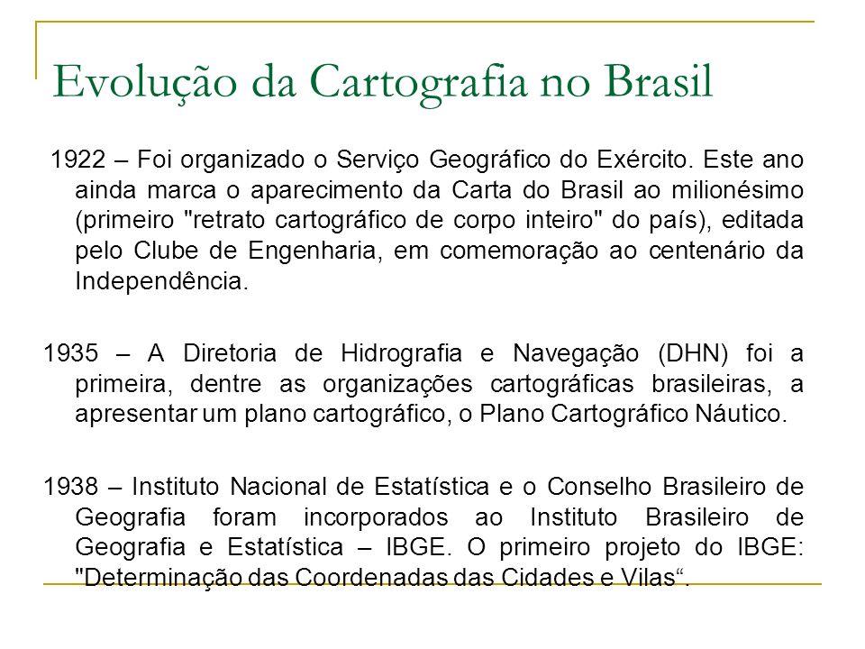 Evolução da Cartografia no Brasil 1940 – Pela primeira vez na história da Estatística Brasileira os dados de coleta e tabulações do censo foram referenciados a uma base cartográfica sistematizada, pelo menos quanto às categorias administrativas: Municipais e Distritais – Cidades e Vilas.