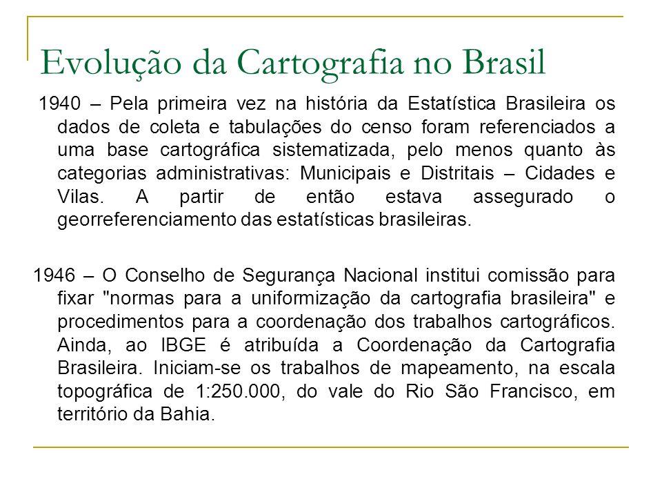Evolução da Cartografia no Brasil 1962 – O IBGE passa a atuar nas escalas maiores de 1:250.000, ou seja, em paralelo aos trabalhos nas escalas ao milionésimo; 1:500.000 e 1:250.000.