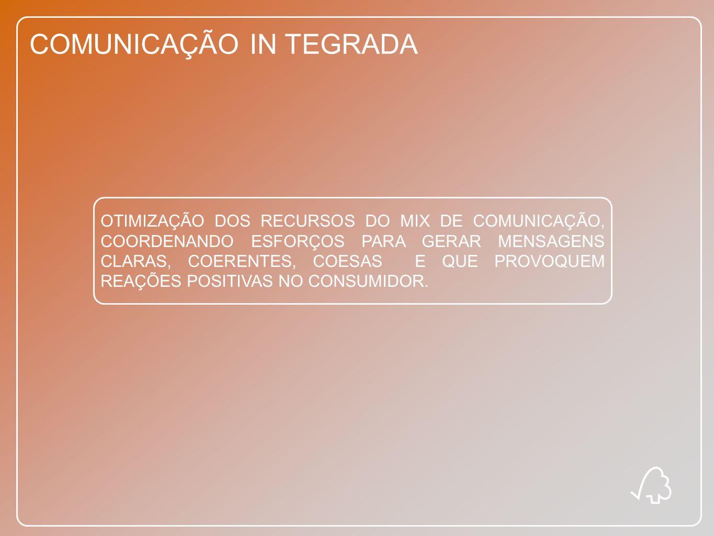 COMUNICAÇÃO IN TEGRADA OTIMIZAÇÃO DOS RECURSOS DO MIX DE COMUNICAÇÃO, COORDENANDO ESFORÇOS PARA GERAR MENSAGENS CLARAS, COERENTES, COESAS E QUE PROVOQ