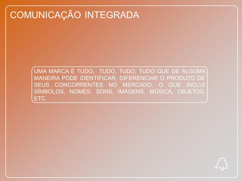 COMUNICAÇÃO INTEGRADA UMA MARCA É TUDO, TUDO, TUDO, TUDO QUE DE ALGUMA MANEIRA PODE IDENTIFICAR, DIFERENCIAR O PRODUTO DE SEUS CONCORRENTES NO MERCADO