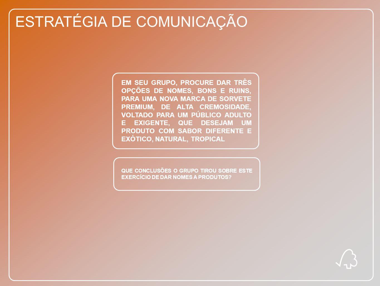 ESTRATÉGIA DE COMUNICAÇÃO EM SEU GRUPO, PROCURE DAR TRÊS OPÇÕES DE NOMES, BONS E RUINS, PARA UMA NOVA MARCA DE SORVETE PREMIUM, DE ALTA CREMOSIDADE, V