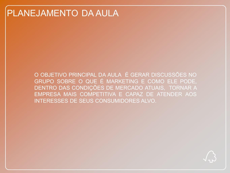 PLANEJAMENTO DA AULA COMUNICAÇÃO E GERENCIAMENTO DA MARCA DISCUSSÃO DOS CONCEITOSCOMUNICAÇÃO INTEGRADAGESTÃO DE MARCAS DISCUSSÃO EM GRUPO E ESTUDO DE CASO
