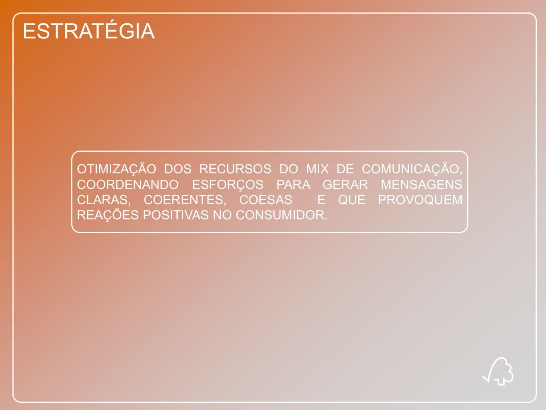 ESTRATÉGIA OTIMIZAÇÃO DOS RECURSOS DO MIX DE COMUNICAÇÃO, COORDENANDO ESFORÇOS PARA GERAR MENSAGENS CLARAS, COERENTES, COESAS E QUE PROVOQUEM REAÇÕES