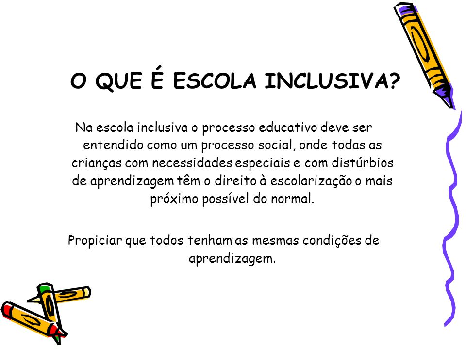 O QUE É ESCOLA INCLUSIVA? Na escola inclusiva o processo educativo deve ser entendido como um processo social, onde todas as crianças com necessidades