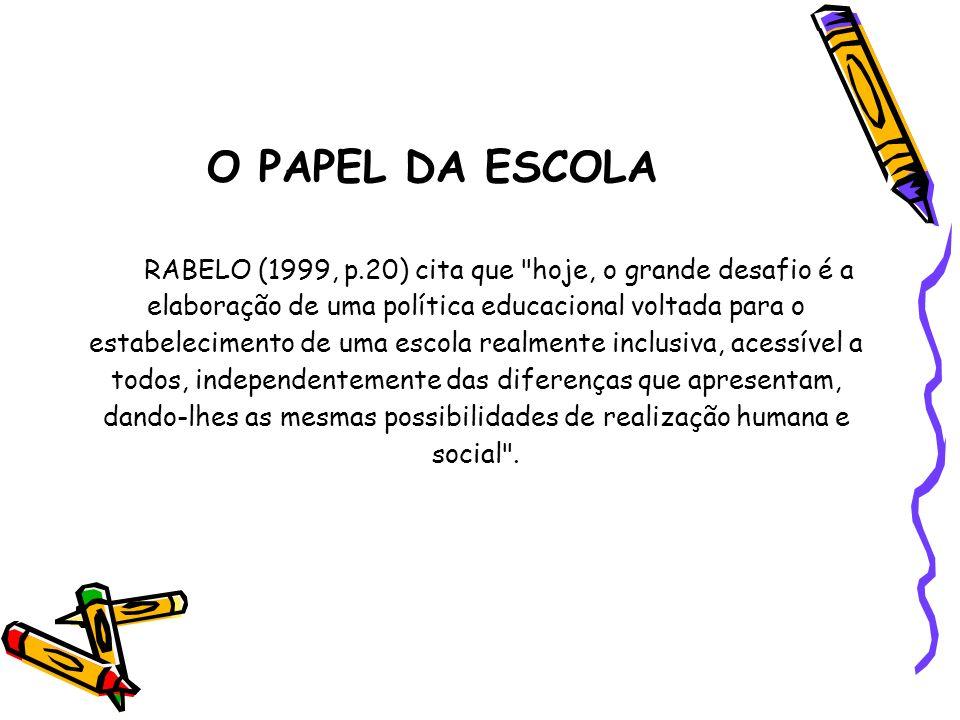 O PAPEL DA ESCOLA RABELO (1999, p.20) cita que